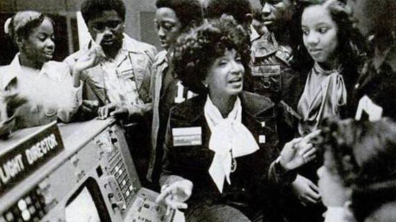 Ms. Nichols at NASA Mission Control during a recruiting session.
