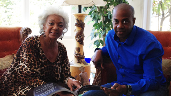 FutureDude Jeffrey Morris reads his book Slingshot with Actress Nichelle Nichols in her Los Angeles home.