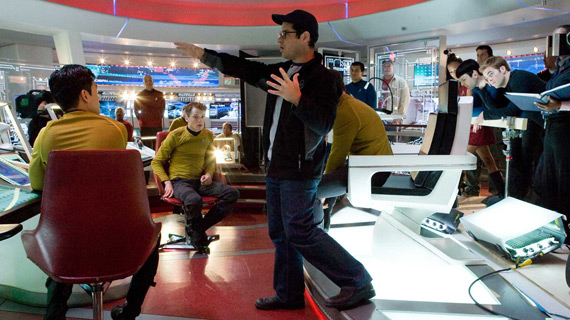 On the set of the Enterprise bridge, J.J. Abrams directs his reboot of the original Star Trek.
