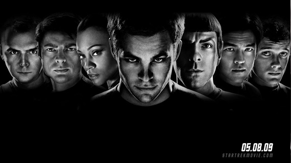 A pre-release promotional poster for Star Trek (2009) featuring the principal cast.