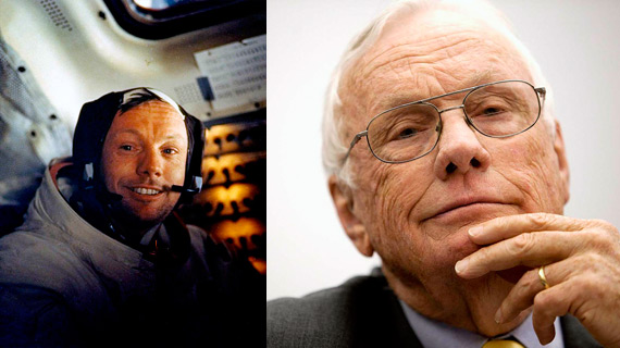 Neil Armstrong (left) in 1969 after walking on the Moon and (right) in a recent portrait.