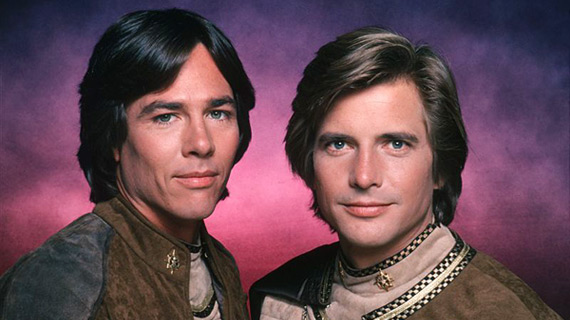 Hatch as Apollo with Dirk Benedict as the rogue Starbuck in the original 1978 Battlestar Galactica.