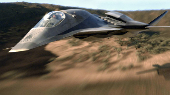 The Talon performs an exercise over the desert in an early scene from Stealth.