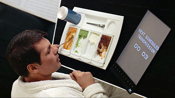 Frank (Gary Lockwood) eats breakfast and watches video on an iPad-like device in 2001.