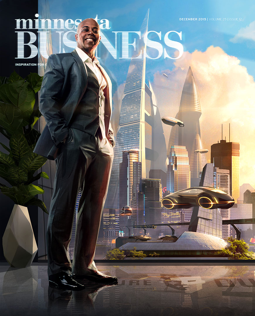 Founder Jeffrey Morris stands before a future Minneapolis on the cover of December's MN Business