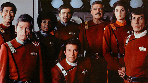 The original Star Trek cast in their more militaristic uniforms from the 1980s.