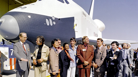 The cast of Star Trek (minus William Shatner) at the unveiling of the Space Shuttle Enterprise.