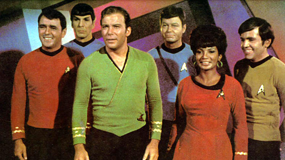The cast of the original Star Trek (minus Sulu) which ran for 3 seasons from 1966 to 1969.