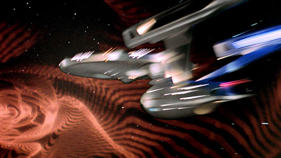 Spectacular visual effects, like the Enterprise speeding through a wormhole, left me speechless.