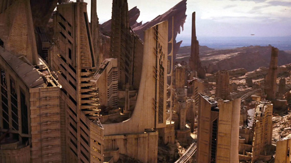 Buildings on the planet Vulcan -- truly one of the film's few inspired designs.