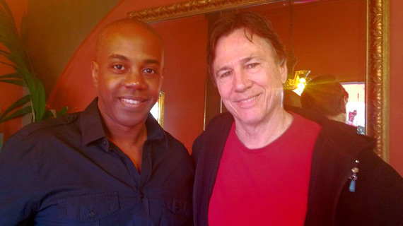 FutureDude Jeffrey Morris and actor Richard Hatch share lunch together at the Aroma Café.