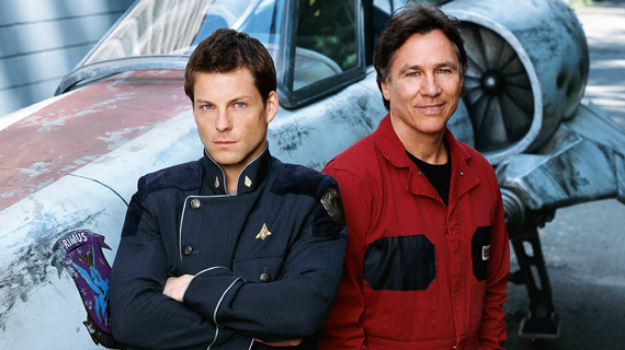 Jamie Bamber as the new Apollo with Hatch as Tom Zarek on the set of the Galactica reboot.