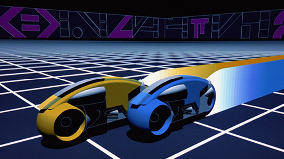 Two Lightcycles compete in the first major computer graphics film Tron.