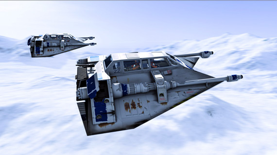 Rebel snowspeeders fly above the ice planet Hoth in The Empire Strikes Back.
